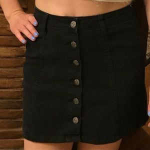 Hot Kiss Skirts - Black denim high-waist button down skirt